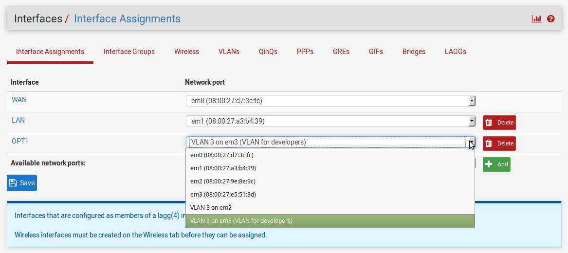 Configuring VLANs - pfSense 2 x Cookbook - Second Edition