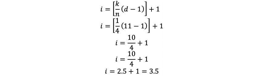 Figure 1.12: Calculating the index for the first cut point
