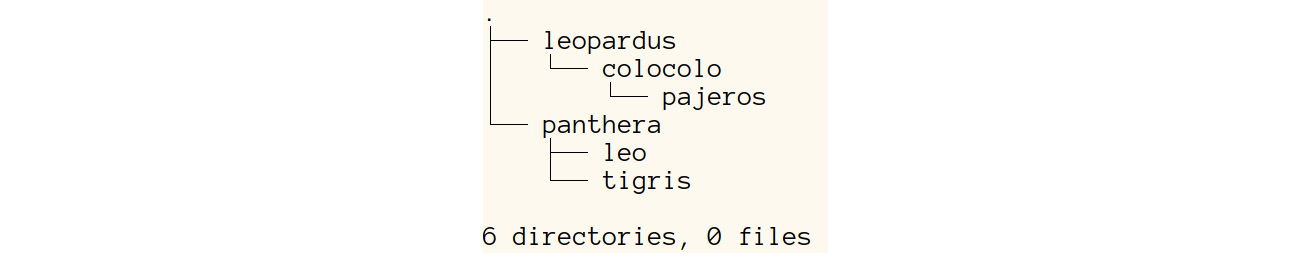Figure 1.6: A screenshot of the output displaying the modified folder structure of the animals folder