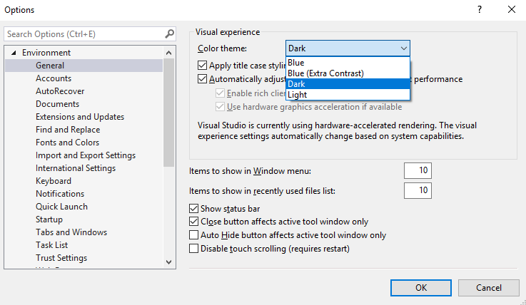 Extension – changing the color theme in Visual Studio