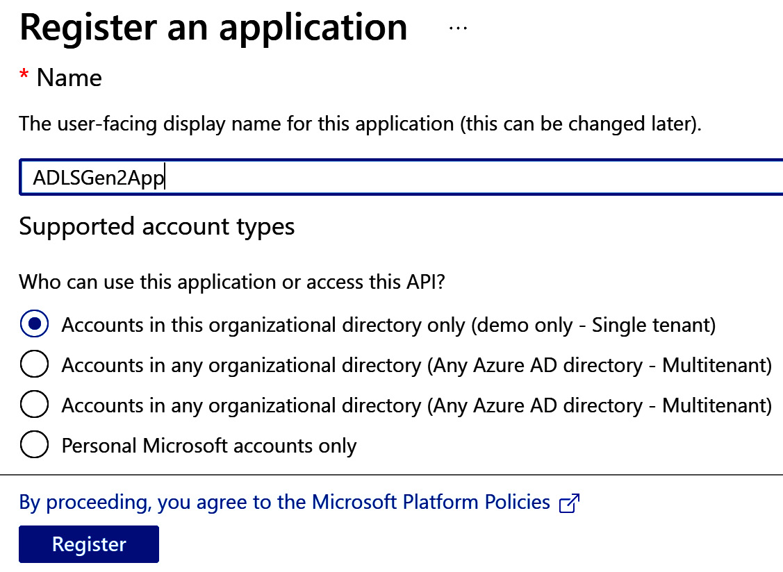 Figure 2.3 – New application registration page (continued)