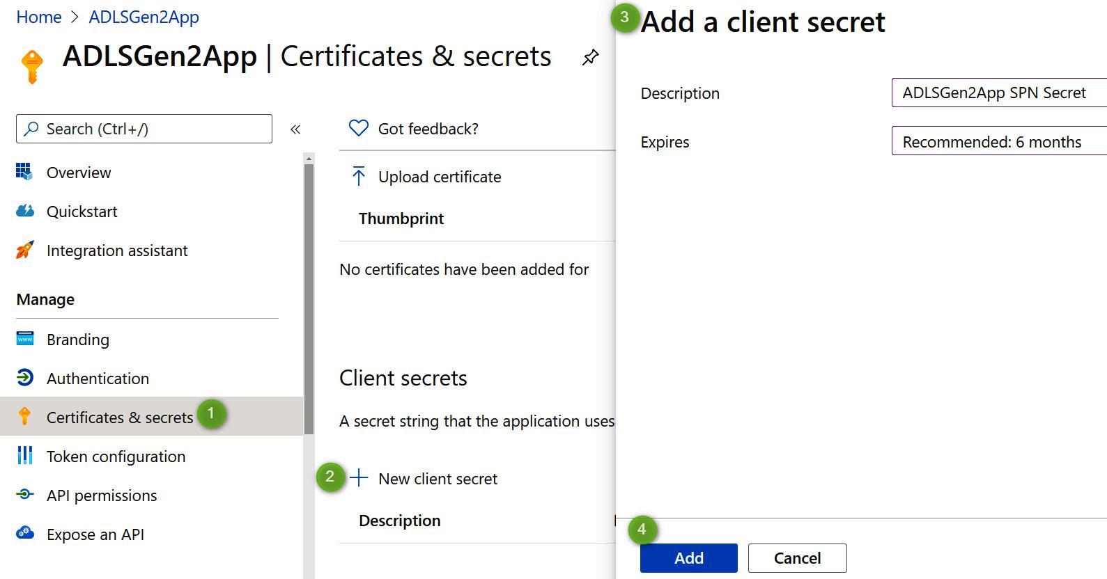 Figure 2.6 – Adding client secret for the application