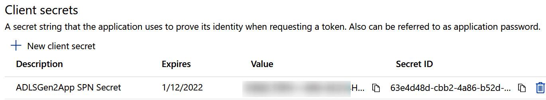 Figure 2.7 – Client secret value page