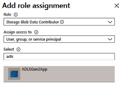 Figure 2.9 – Adding permissions to ADLS Gen2 for service principal