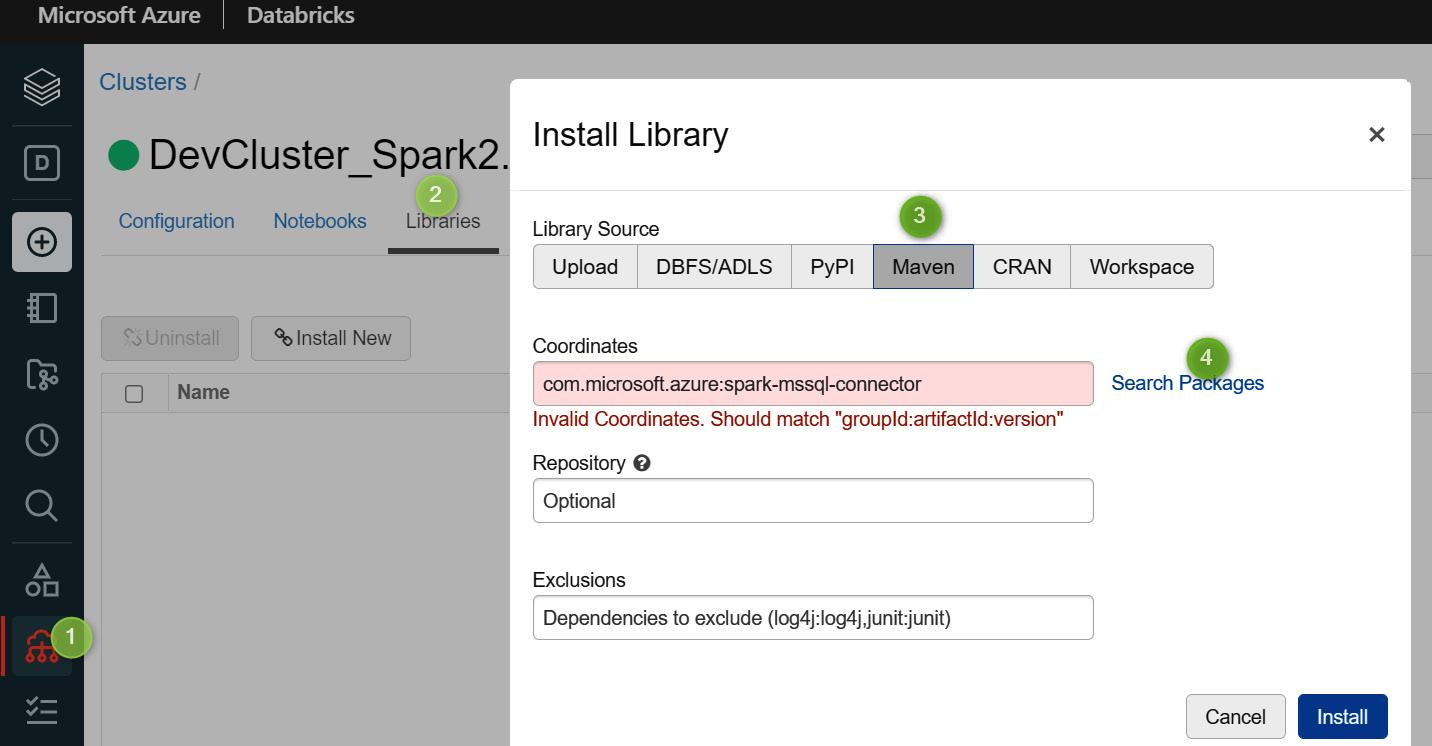 Figure 2.13 – Installing Spark connector on Azure SQL database