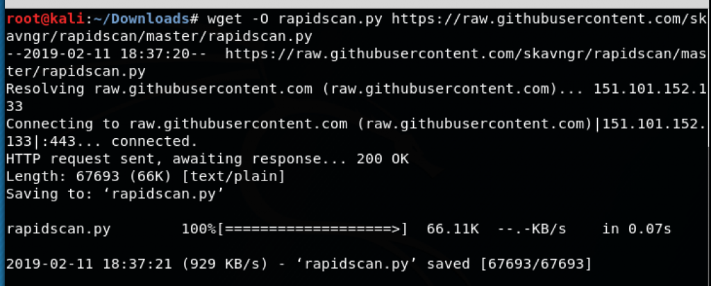 Automating vulnerability detection using RapidScan - Kali Linux - An