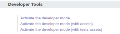 Figure 1.11 – Links to activate different developer modes