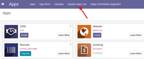 Figure 1.13 – Menu item to update the apps list
