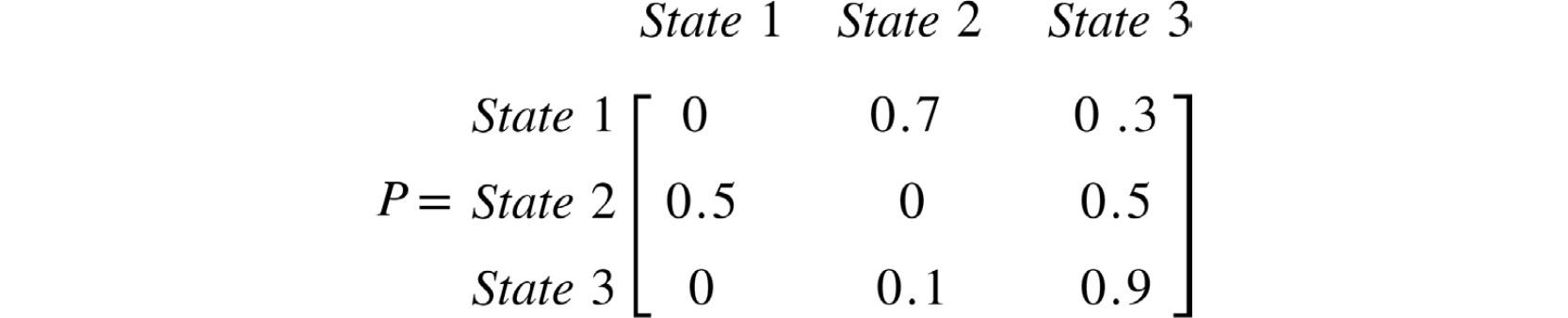 Figure 2.7: Transition matrix for the MC in Figure 2.6