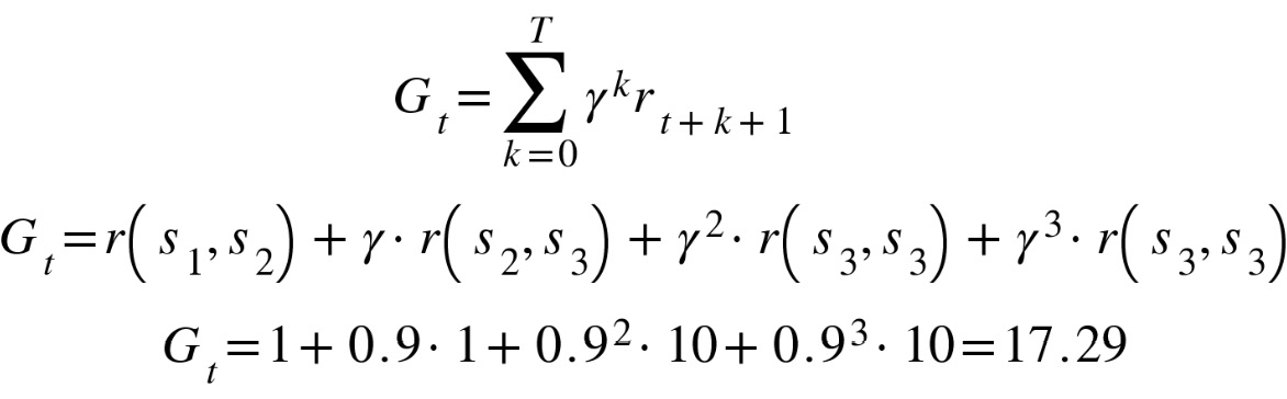 Figure 2.9: Discounted return for the trajectory of 1-2-3-3-3