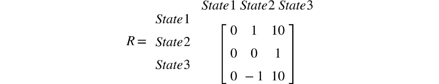 Figure 2.12: Reward matrix for the MRP example