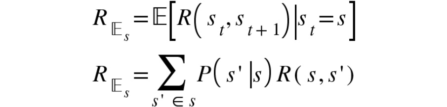 Figure 2.15: Expression for the expectation of the reward function in state s