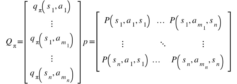 Figure 2.37: Explicit matrix form of the action-value function and the transition function