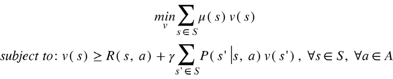 Figure 2.54: Linear programming formulation for solving MDPs