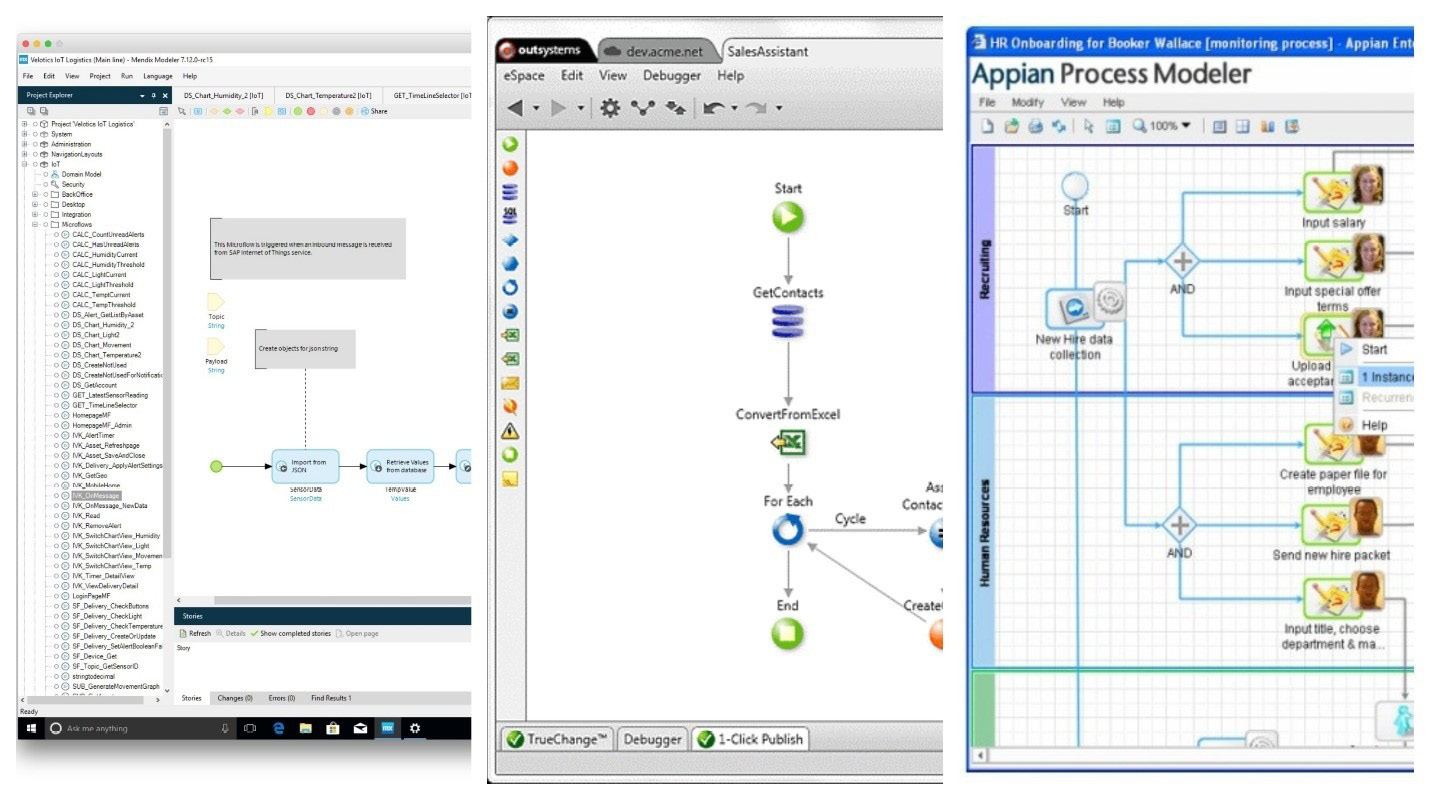 Figure 1.2 – Platform examples from left to right: Mendix, OutSystems, Appian