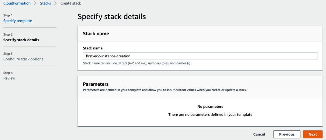 Figure 1.9 – Specify stack name