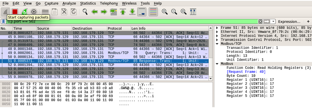 Figure 1.16 – ICS cleartext protocol packet