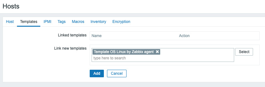Figure 2.2 – The Zabbix host template page for host lar-book-agent