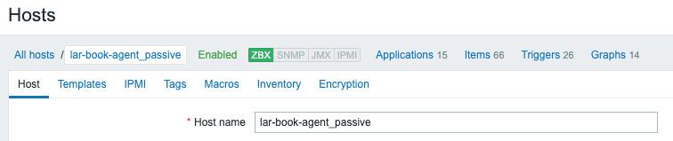 Figure 2.5 – The Zabbix host configuration page for host lar-book-agent_passive