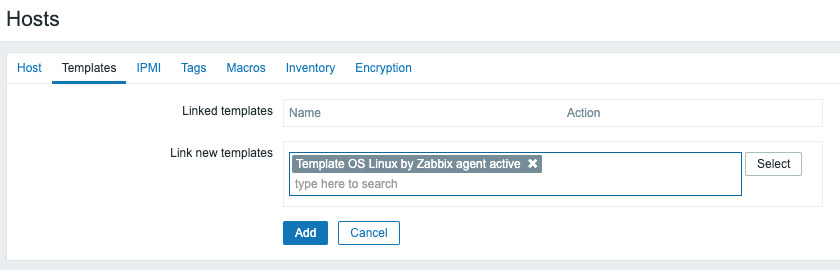 Figure 2.7 – The Zabbix host template page for host lar-book-agent