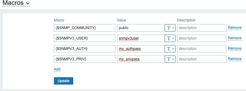 Figure 2.13 – Zabbix global macro page with SNMP macros