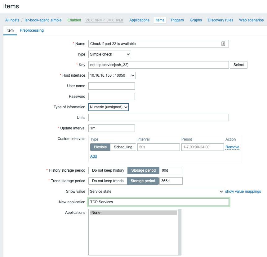 Figure 2.18 – Zabbix item port 22 check configuration page for host lar-book-agent_simple