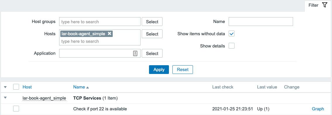 Figure 2.19 – Zabbix Latest data page for host lar-book-agent_simple, item port 22 check