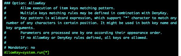 Figure 2.50 – Zabbix agent configuration file, AllowKey system.run
