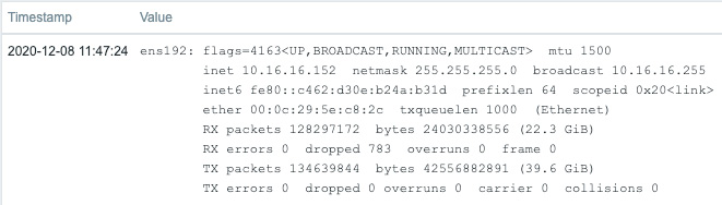 Figure 2.56 – Zabbix agent system.run command executing 'ifconfig ens192' results
