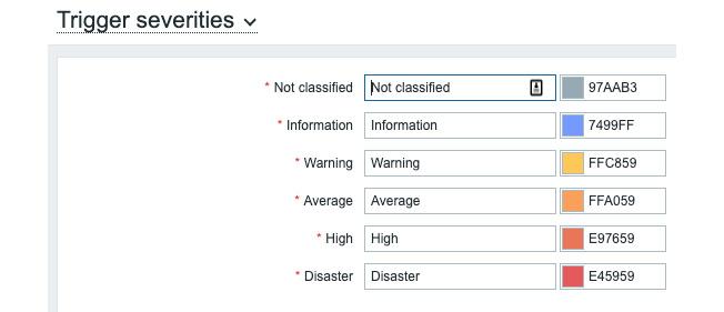 Figure 3.30 – Default Trigger severities window page