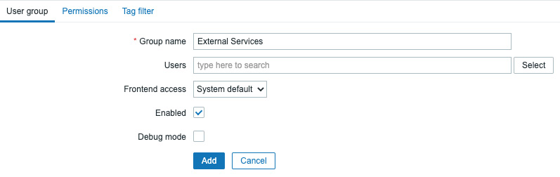 Figure 8.30 – Zabbix, Create user group page, the External Services group