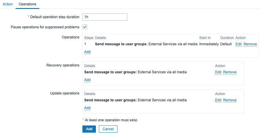 Figure 8.35 – Zabbix – Create action operations page, Notify external services for use with MS Teams