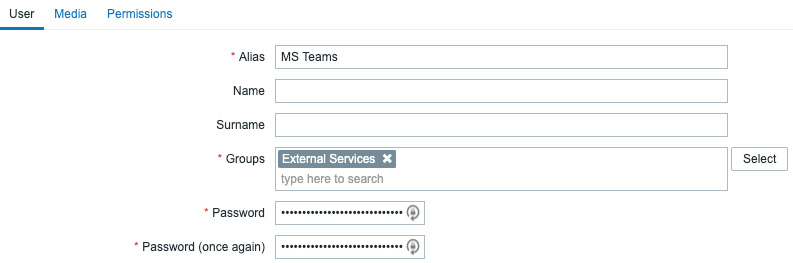 Figure 8.32 – Zabbix Administration | Media types – Create new user page, MS Teams