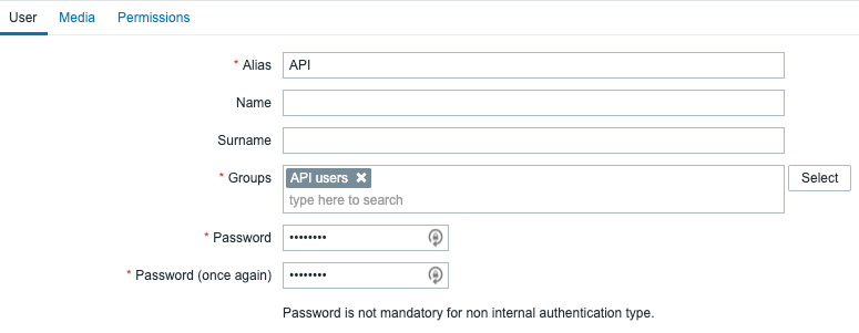 Figure 9.11 – Zabbix Administration   Users, create user page, API user for jumphost