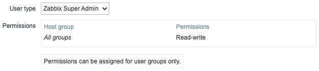 Figure 9.12 – Zabbix Administration   Users, create user Permissions page, API user for jumphost