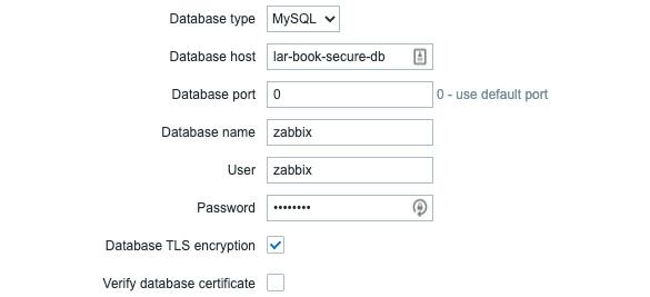 Figure 11.17 – Zabbix frontend configuration, database step