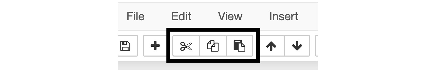 Figure 1.8: Toolbar icons to cut, copy, and paste cells