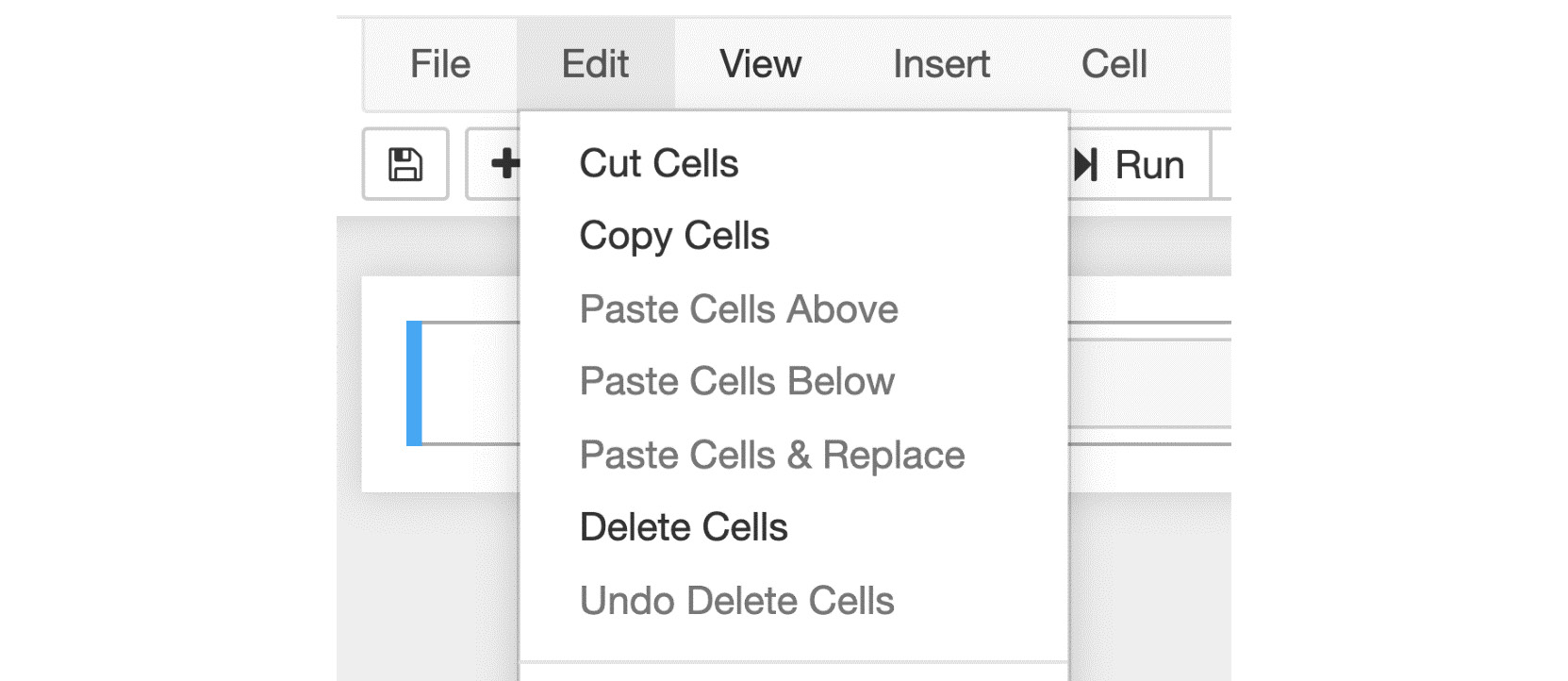 Figure 1.9: Menu options to cut, copy, and paste cells