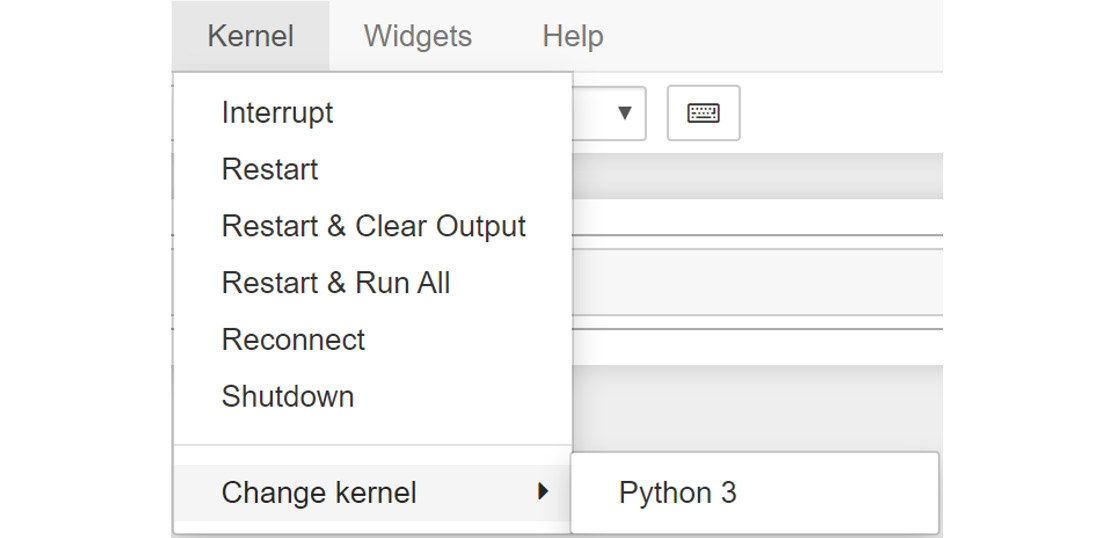 Figure 1.12: Menu options for selecting a Notebook kernel