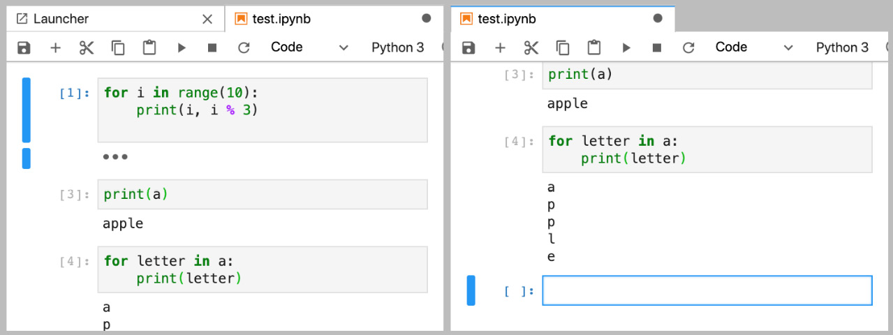 Figure 1.25: Two live views of the same Notebook in JupyterLab