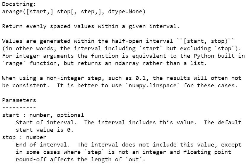 Figure 1.28: The docstring for np.arange