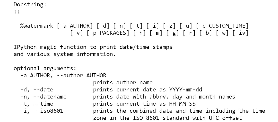 Figure 1.35: The docstring for watermark