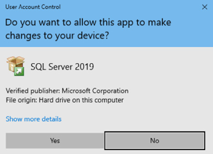 Figure 1.1 – The SQL Server installation User Account Control dialog