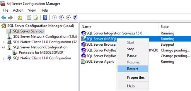 Figure 1.18 – Restarting the SQL Server instance