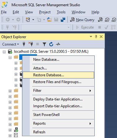 Figure 1.19 – Restoring a SQL Server database