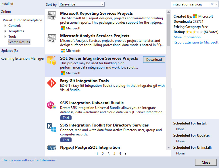 Figure 1.23 – The Visual Studio 2019 extensions
