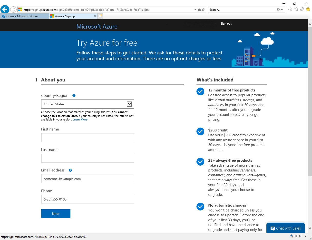 Figure 1.25 – Activating the Microsoft Azure Free Trial