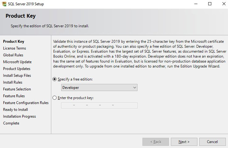Figure 1.3 – Specifying the SQL Server edition