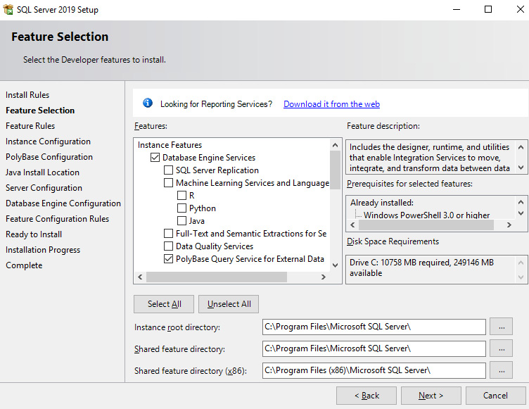 Figure 1.7 – SQL Server 2019 Feature Selection