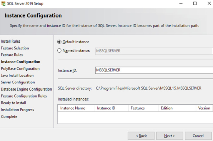 Figure 1.8 – SQL Server 2019 Instance Configuration